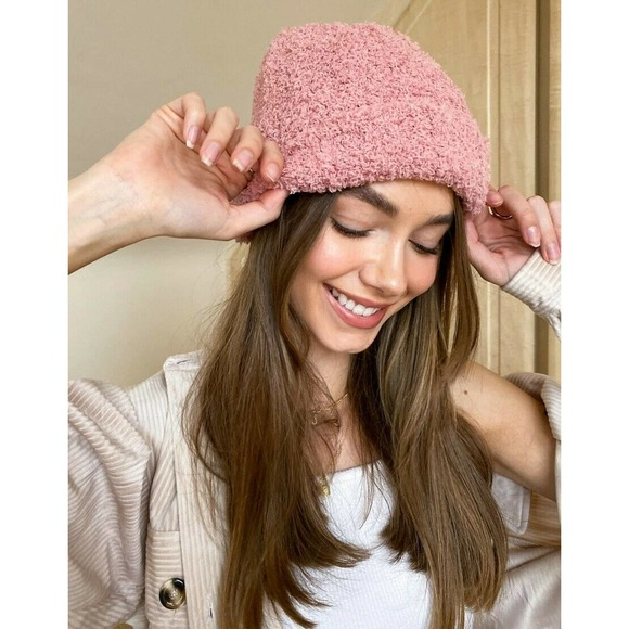 Free People Beanie Ribbed Fluffy Pink Lined OS NEW